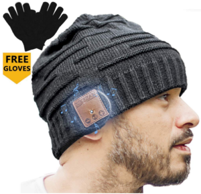 This is an image of boy's bluetooth hat with free gloves in gray color
