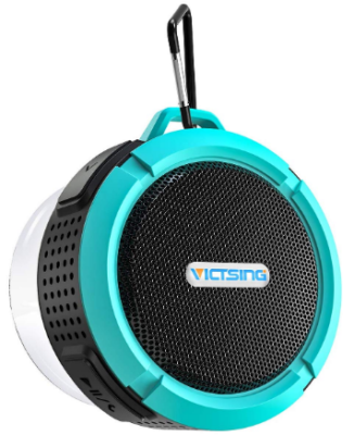 This is an image of girl's bluetooth speaker in black and blue colors