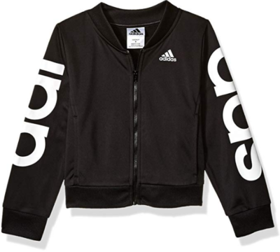 This is an image of girl's adiddas bomber jacket in black and white colors