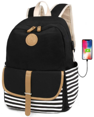 This is an image of girl's bookbag with usb port in black and white colors