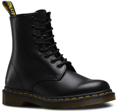 This is an image of girl's leather boot in black color
