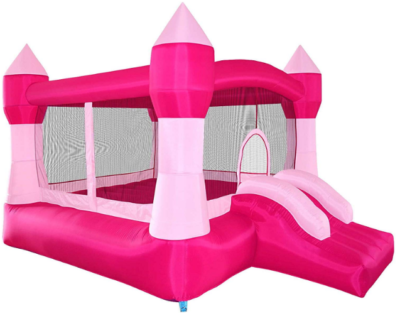 This is an image of girl's bounce house castle with blower in pink color