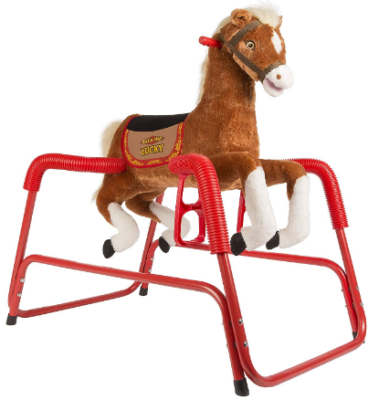 This is an image of kid's bouncing plush horse in brown and white colors