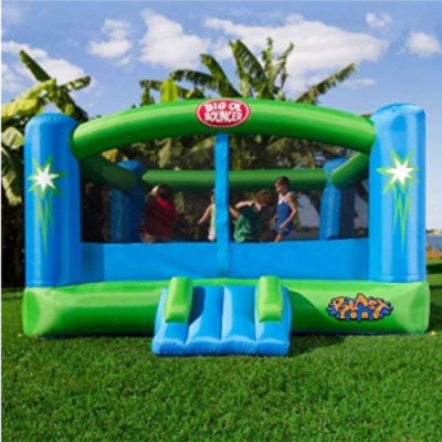 This is an image of kid's bouncer inflatable in blue and green colors