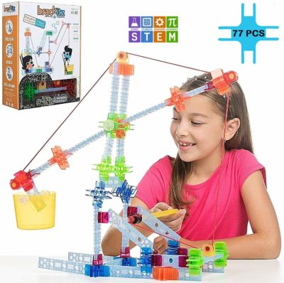 This is an image of a little girl playing with the pulley set by Brackitz.