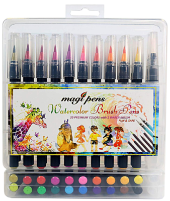This is an image of girl's brush pens set