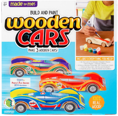 This is an image of boy's Build and paint your own wooden cars