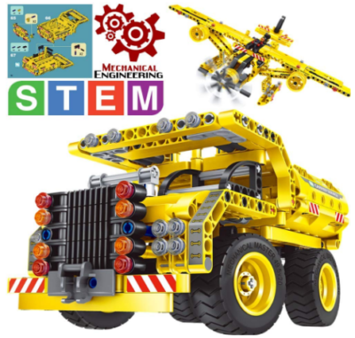 This is an image of kid's STEM truck building kit in yellow color