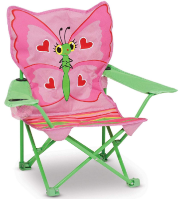 This is an image of girl's chair with butterfly design in green and pink colors