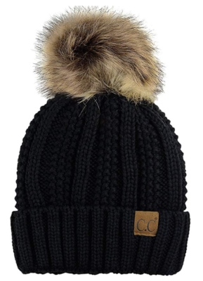 This is an image of a black beanie hat with fur pom by C.C.