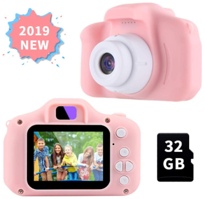 This is an image of girl's Digital camera with 32GB memory card in pink color