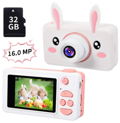 This is an image of girl's camera with bunny design and memorry card in white and pink colors