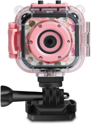 This is an image of girl's digital action camera with waterproof in pink color