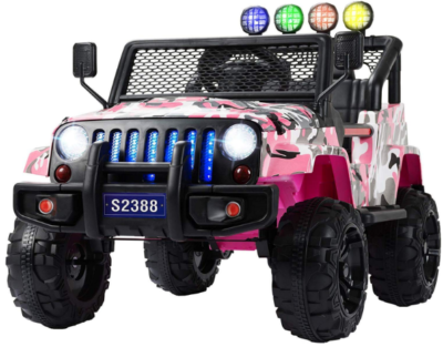This is an image of girl's power wheels camouflage jeep in pink and white colors