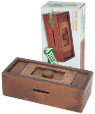 This is an image of boy's Cash wooden puzzle box