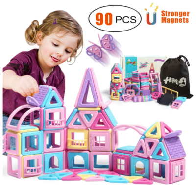 This is an image of girl's castle magnetic building blocks in colorful colors