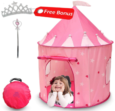 This is an image of girl's castle play tent in pink color