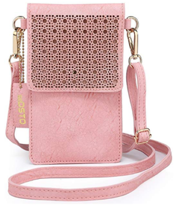 This is an image of girl's cellphone purse in pink color
