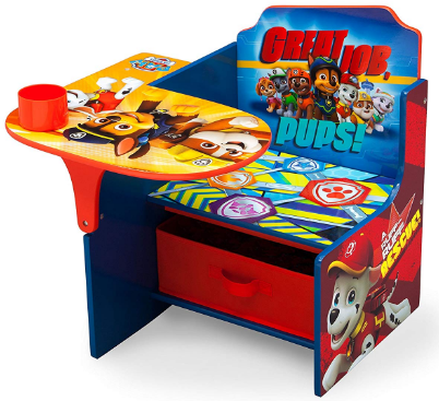 This is an image of boy's chair desk with stockage and paw patrol design in colorful colors