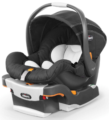 This is an image of infant's car seat by chicco in black and white colors