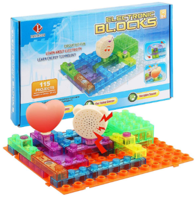 This is an image of kid's circuit kit with lighted bricks and sounds in colorful colors