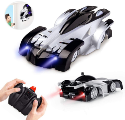 This is an image of kid's clambing dual mode stunt car with remote control in black and white colors