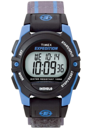 This is an image of boy's classic digital watch in black and blue colors