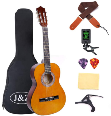 This is an image of boy's classic accoustic guitar pack in brown color
