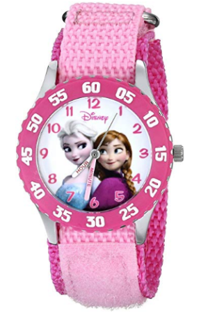 This is an image of girl's classic watch with frozen diseny theme in pink color
