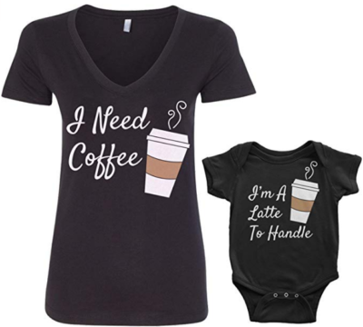 This is an image of mom's t shirt with coffee graphics and bodysuit for baby in black color
