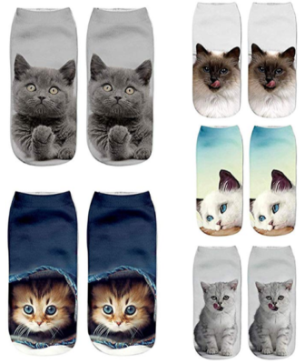 This is an image of girl's ankle socks pack with cats