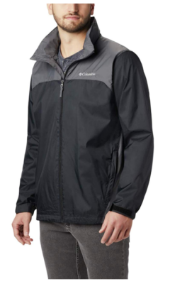 This is an image of a black rain jacket for men by Columbia.