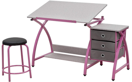 This is an image of girl's comet center with stool in pink and gray colors
