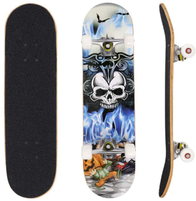 This is an image of kid's complete pro skateboard with skull graphics in colorful colors