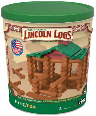 This is an image of kid's wooden educational construction building set in brown and green colors