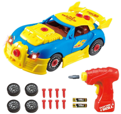 This is an image of boy's construction racing car in colorful colors