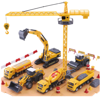 This is an image of boy's Construction site with vehicles set in yellow color