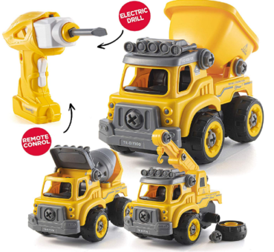 This is an image of boy's Construction truck toy in yellow color
