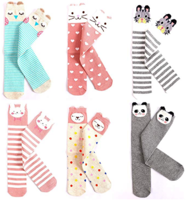 This is an image of girl's knee Cotton socks pack in colorful colors