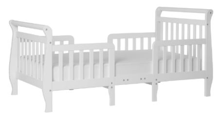 This is an image of toddler's convertible toddler bed in white color
