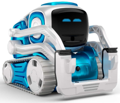This is an image of boy's Cozmo robot toy in blue and white colors