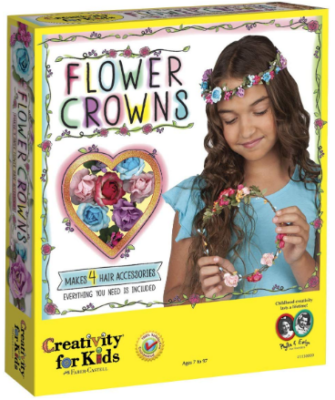 This is an image of girl's creativity flower crowns craft