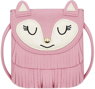 This is an image of girl's bag shoulder purse with face in pink color