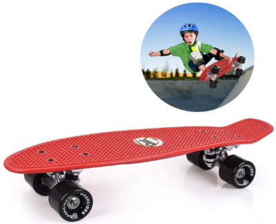 This is an image of kid's cruiser skateboard 22 inch in red color