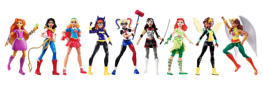This is an image of a 9 pack super hero girls action figure for little girls.