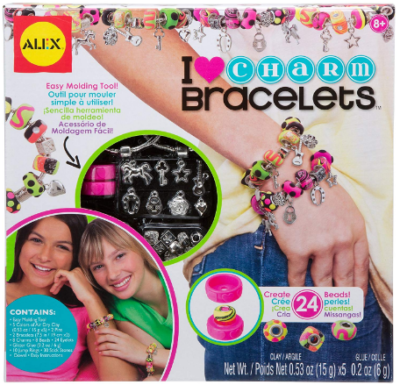This is an image of girl's DIY charm bracelets craft