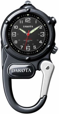 This is an image of a black gunmetal mini clip watch by Dakota.