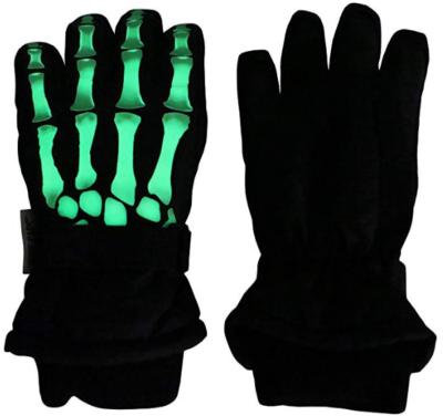 This is an image of kid's dark skeleton waterproof gloves in black and green colors