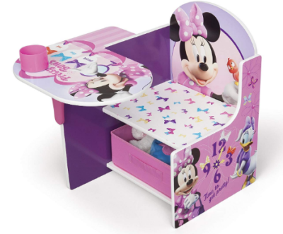 This is an image of girl's desk with storage and minnie mouse design in white and purple