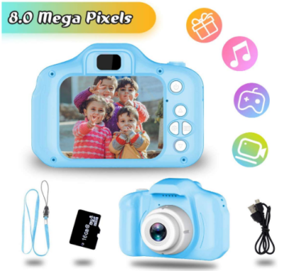 This is an image of girl's digital camera with memory card in blue color